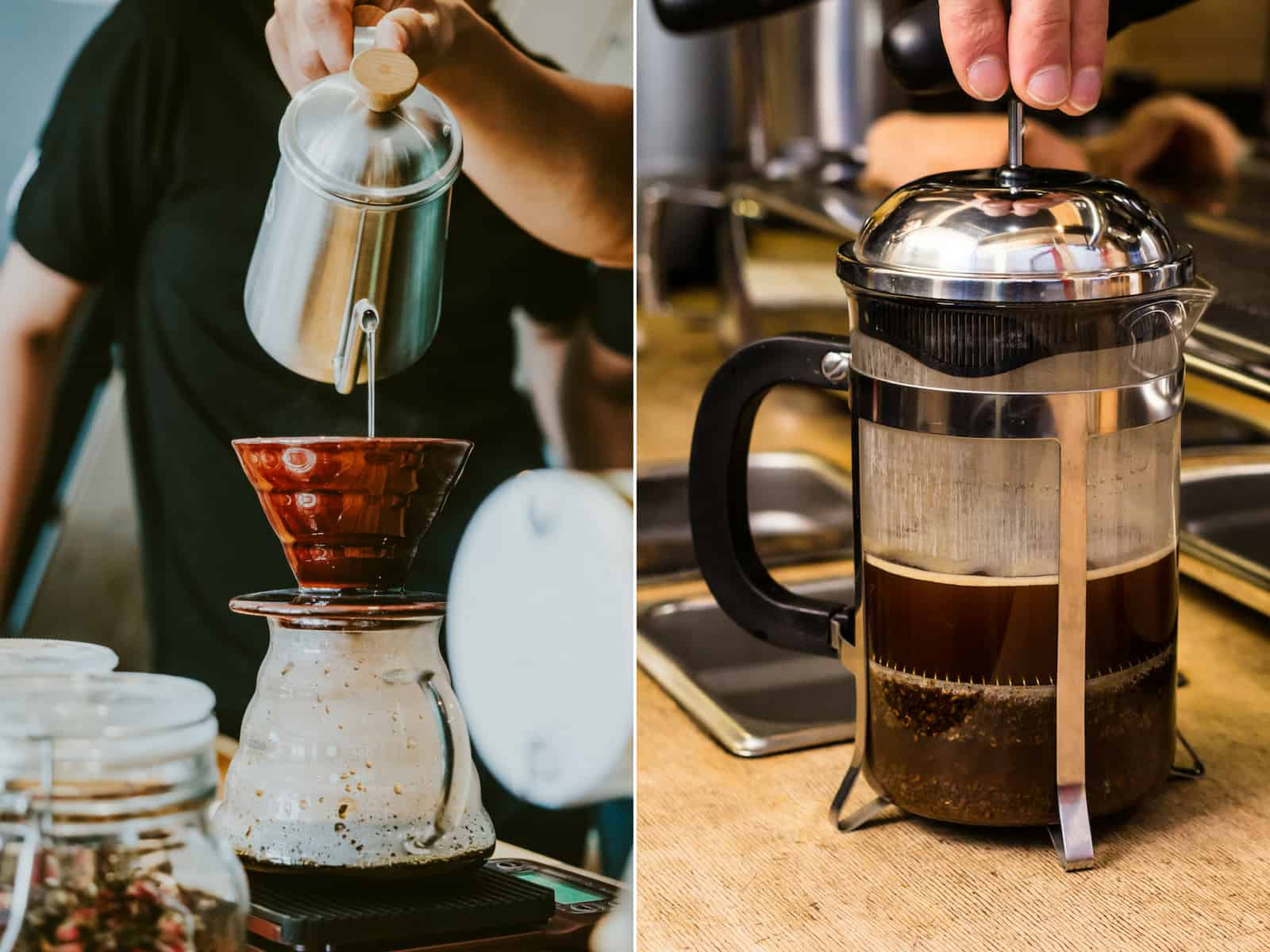 Pour over vs french press coffee maker Pour French Press Coffee Through Filter