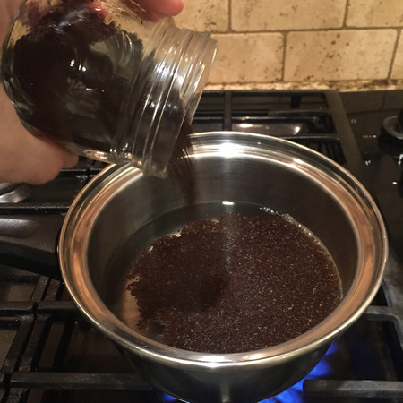 Cowboy Coffee: Water and coffee grounds