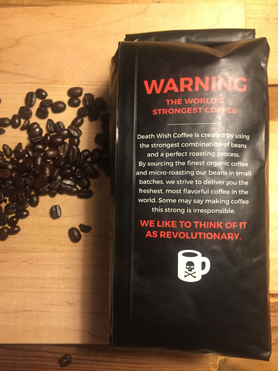 Death Wish Coffee bag and beans