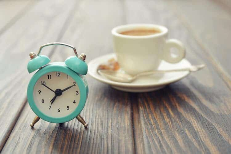 Recommended time of the day to drink coffee