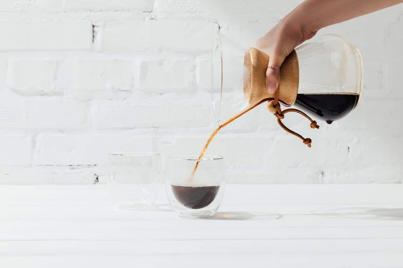 serving coffee from a chemex