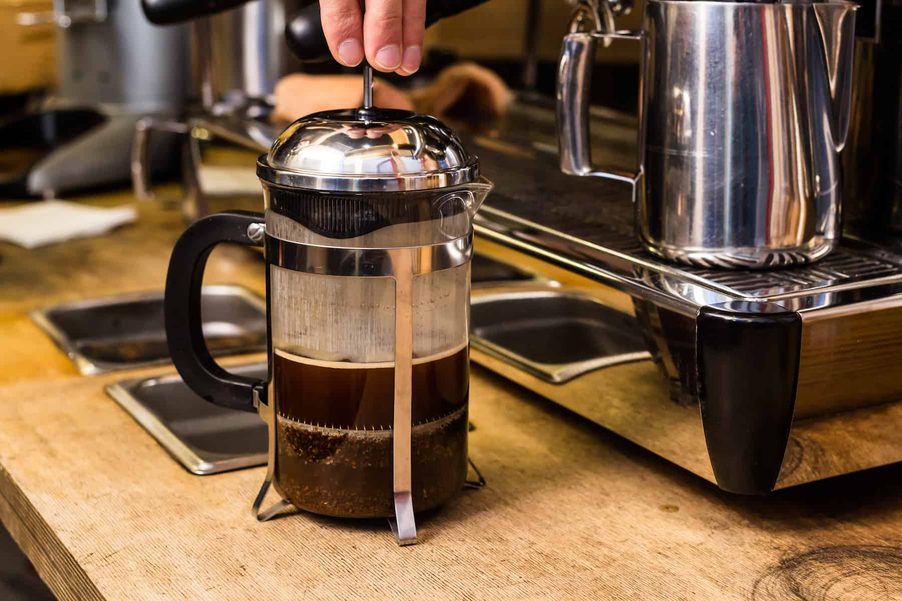 Pressing on a french press