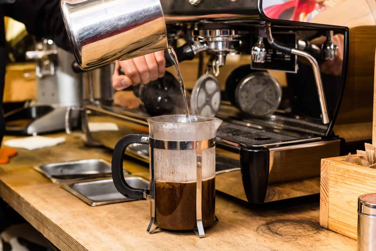 adding water to french press