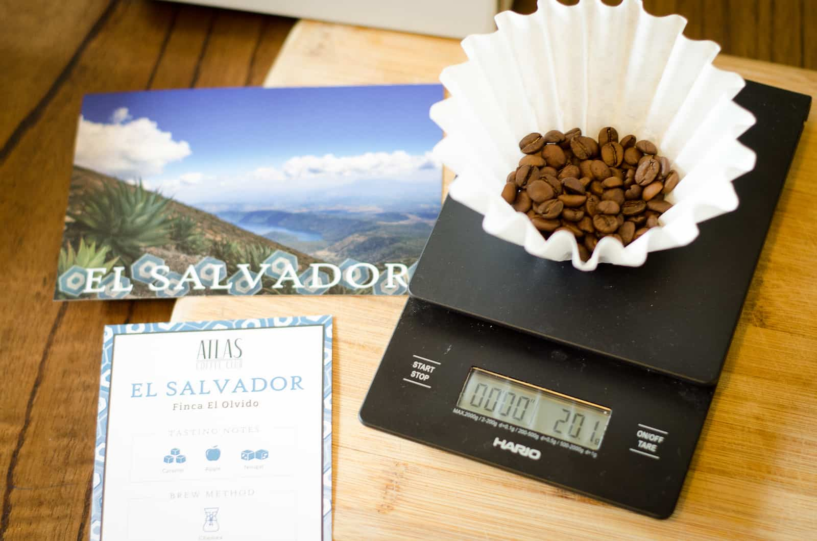 using a scale on atlas coffee club coffee beans