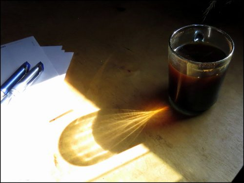 black coffee on desk