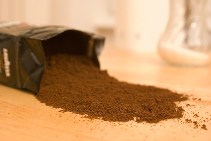 spilt espresso powder